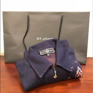 St. John Sport Zip Front Navy Cardigan Sweater